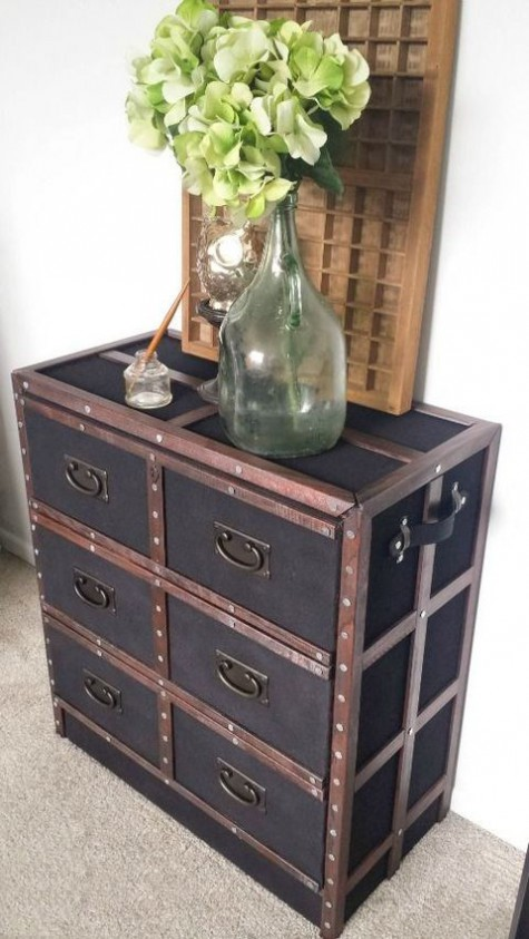an IKEA Rast hack with leather and metal inspired by vintage chests looks really ouf of the box
