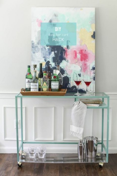 an IKEA Vittsjo desk hack into a stylish and contemporary home bar that doesn't look bulky
