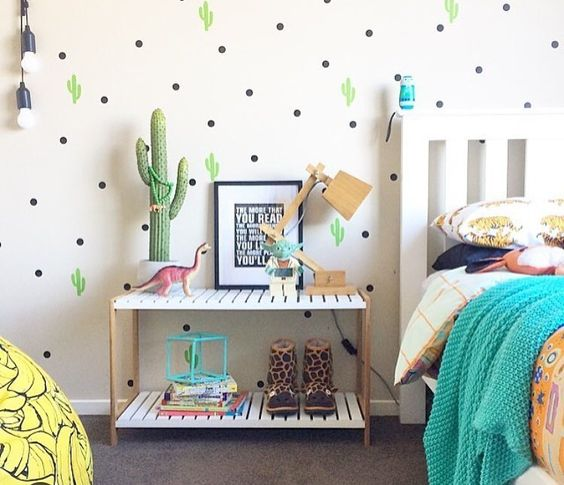 IKEA Molger bench used as a nightstand for a kids' room is a perfect solution with plenty of storage space