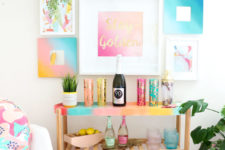 26 turn a usual IKEA Satsumas plant stand into a bright gradient home bar in bold summer colors