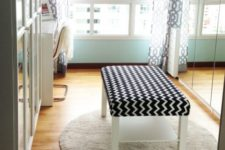 a stylish chevron print black and white ottoman made of an IKEA Lack table