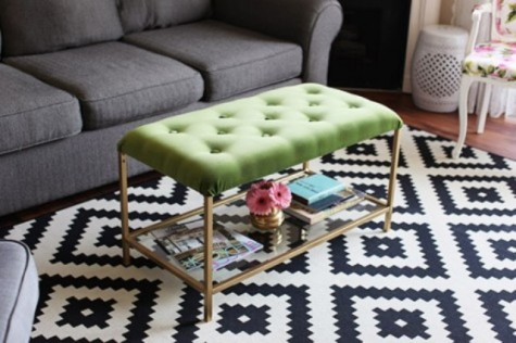 an IKEA Vittsjo table turned into a stylish tufted ottoman with green velvet and tufting plus gold touches