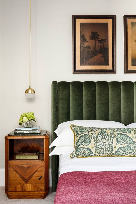 a catchy green velvet headboard will add a touch of color and texture to the bedroom