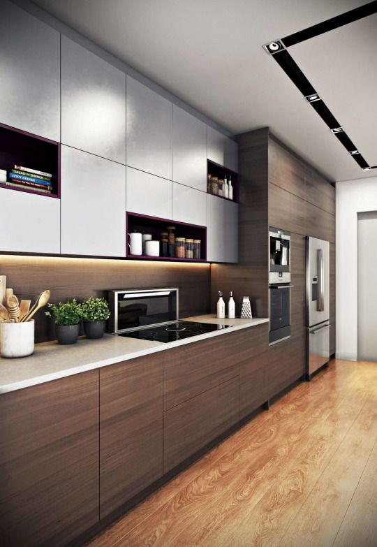 a chic minimalist kitchen with dark stained wood and white sleek cabinets for a bold contrast