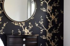 04 make your bedroom more refined with a black and gold wallpaper accent wall and it will be wow