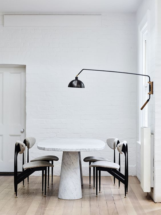 even a minimal home can look nice with a bit of texture, for example, a white brick wall like here