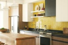 06 a contemporary wood, black and white kitchen made bold with a yellow honeycomb backsplash of tiles