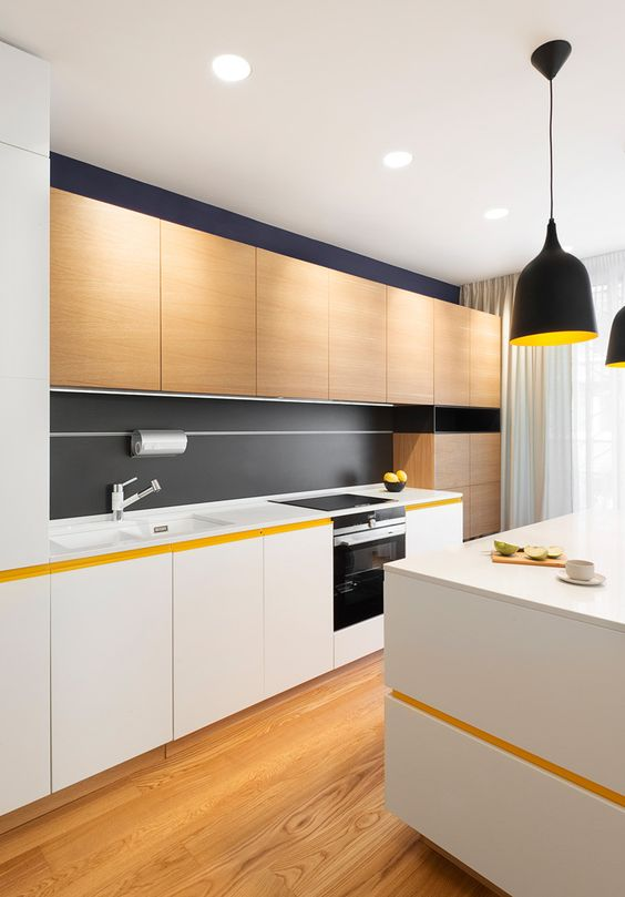 white and light-colored wood cabinets and a matte black backsplash for a bold minimalist kitchen design