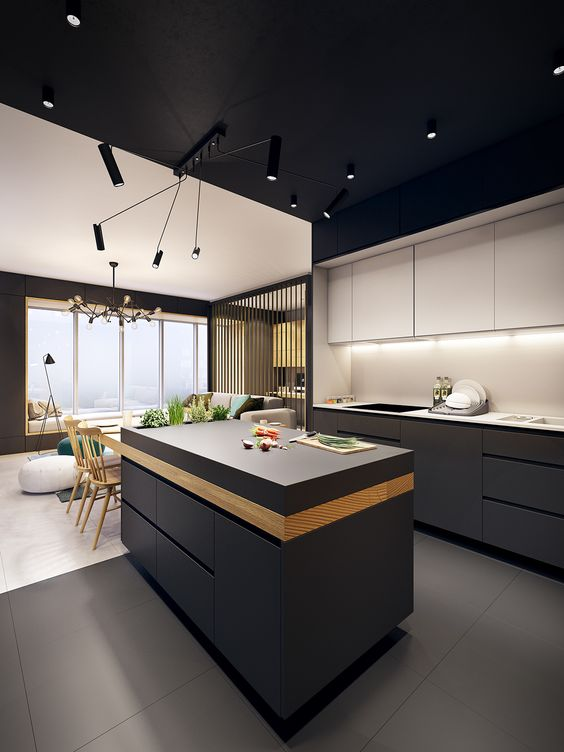 a minimalist kitchen with sleek white and black cabinets and eye-catchy lights looks wow