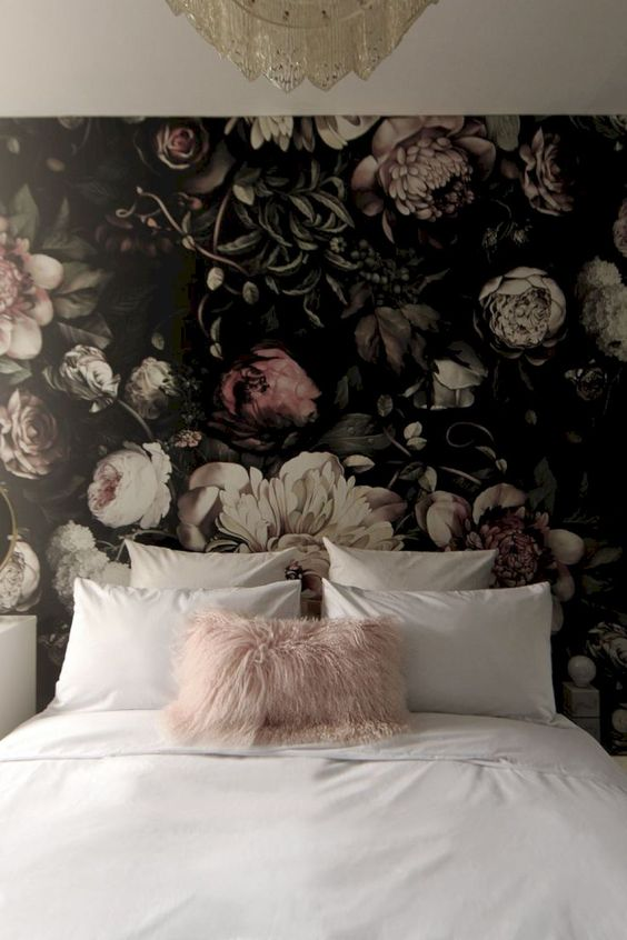 a moody floral statement wall will add drama to your bedroom, and such prints are on top this year