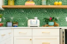 14 elegant neutral cabinets paired with open shelving and with a bright green tile backsplash for a touch of bold color