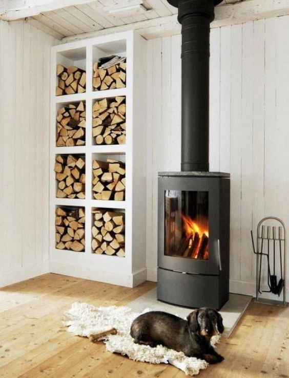 a large open storage unit next to your wood burning stove is a perfect idea, and you can DIY this piece easily