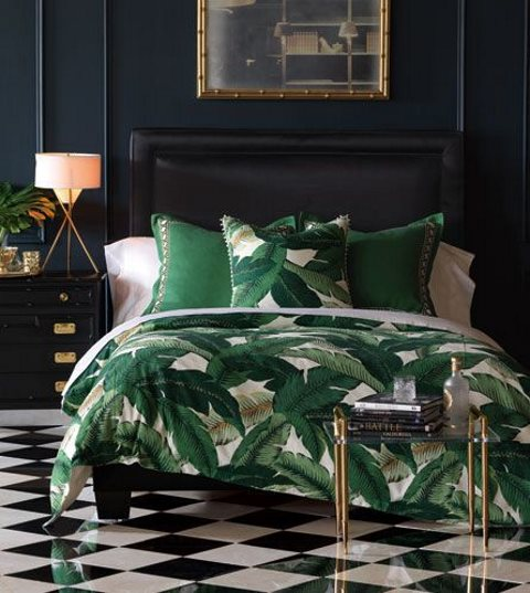 banana leaf print bedding is a bright idea for summer or to bring a tropical feel to the bedroom