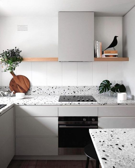 terrazzo countertops are a trendy idea to rock, they add pattern and eye-catchiness to the kitchen
