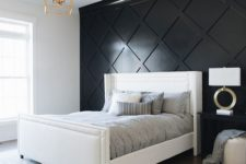 26 an elegant modern bedroom done in neutrals and highlighted with a black paneled accent wall plus gold touches
