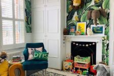 a bold jungle nursery with tropical leaf print walls, layered rugs, colorful animal toys and bright furniture
