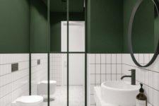 a bathroom design with a white stone floor