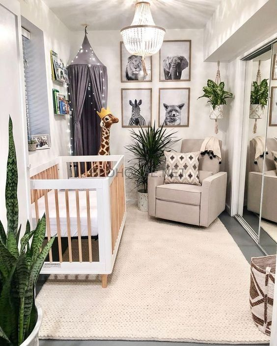 a jungle themed nursery with black and white artworks, potted plants, a light canopy and printed textiles