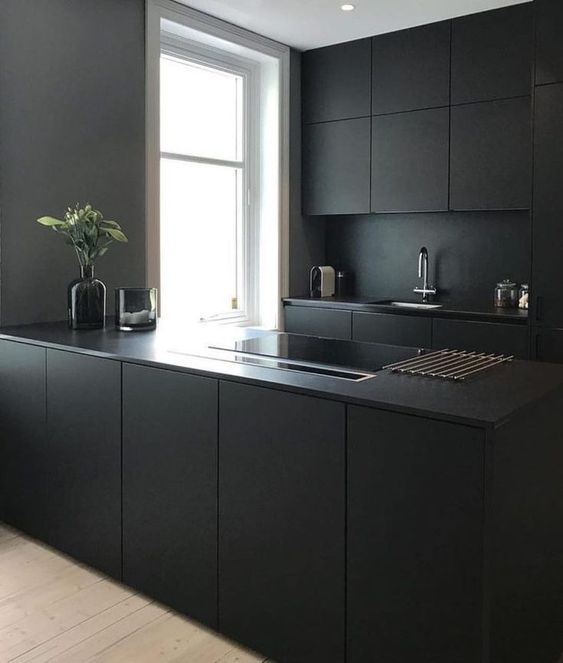 a minimalist black kitchen with sleek cabinets and a sleek kitchen island plus a black backsplash and countertops