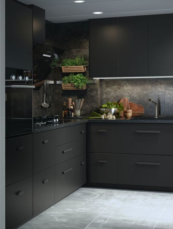 a minimalist meets industrial black kitchen with metal cabinets, black stone countertops and a backsplash plus greenery