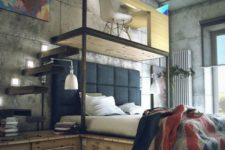 a modern industrial space with concrete walls, a shabby wood floor, a floating bed with storage, a platform with a work space on top