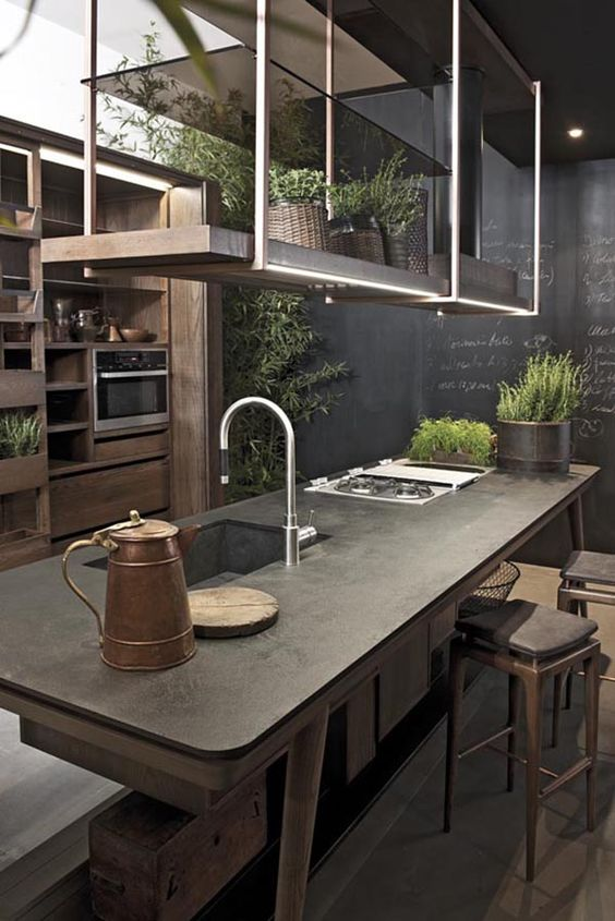 a moody industrial kitchen with wooden cabinets, a chalkboard wall, a wooden kitchen island and pendant lighting with storage