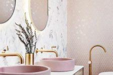 a bathroom with trendy hexagon tiles