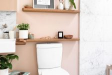 blush walls paired with white marble tiles and light-stained wood look cool and very tender at the same time