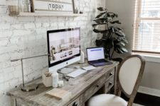 make your home office more eye-catching and bold with white brick walls or a single statement wall like here