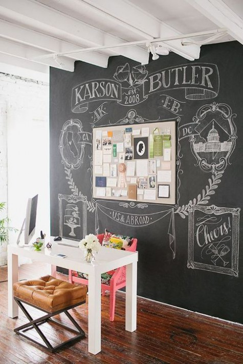 a chalkboard accent wall with an addiitonal memo board and lots of art chalked on the wall for a cool look