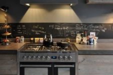 a moody kitchen design with an edgy backsplash