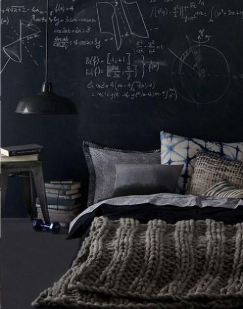 a moody dark bedroom design