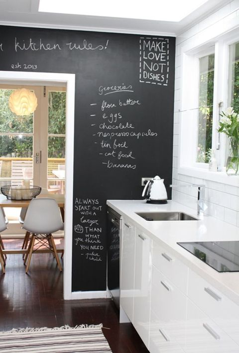 a pure white kitchen with a chalkboard wall to note recipes and various stuff you want to note