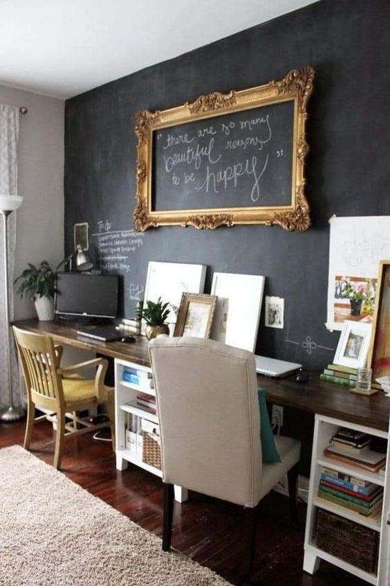 a vintage home office with a chalkboard wall that can be used for chalking, making notes and features art in a frame