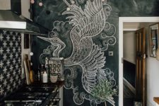 06 a chalkboard wall with a large art – use your chalkboard not only as a note board but also for art