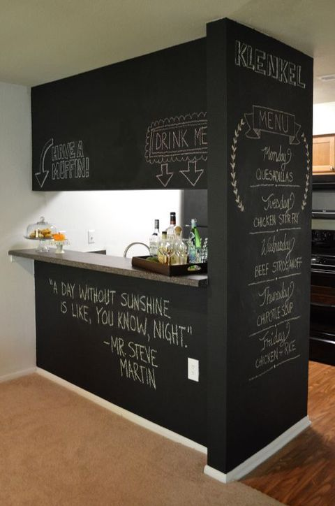 a stylish idea to cover a kitchen island with chalkboards