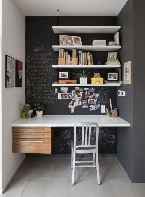 a home office nook with chalkboard walls, with shelves, notes and photos attached to the wall