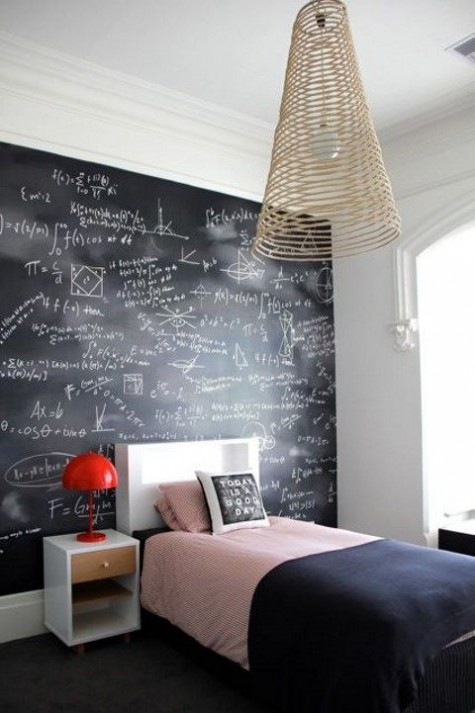 a student bedroom with a chalkboard wall used for various stdies right on it is a very comfy idea to rock