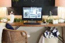 11 a cozy farmhouse home office with a large chalkboard that can be used for notes, for writing and evne attaching greenery