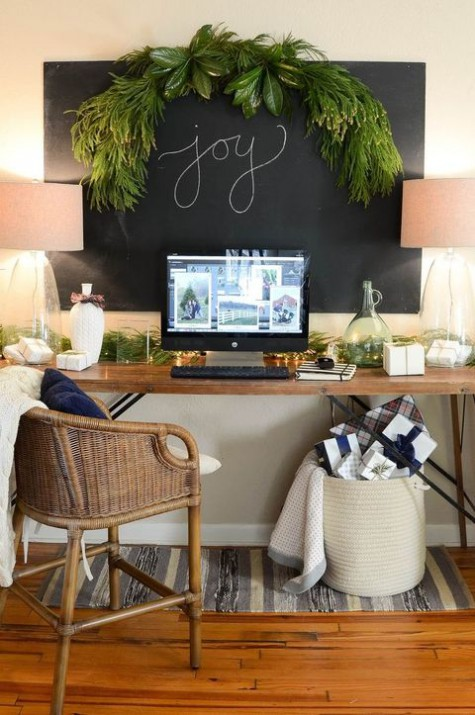 a cozy farmhouse home office with a large chalkboard that can be used for notes, for writing and evne attaching greenery