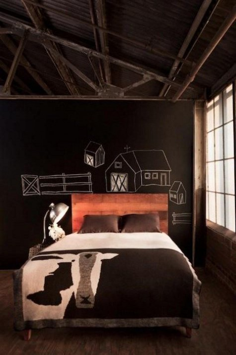 cozy up your industrial bedroom with a chalkboard wall, on which you can chalk anything you like and you want