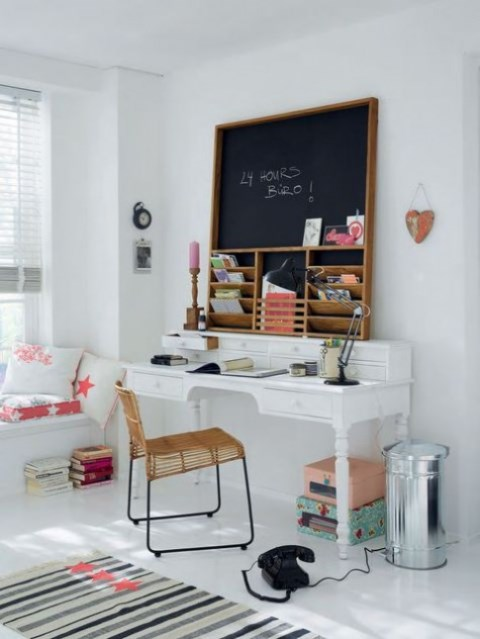 a creative memo board including chalkboard, with shelves and compartments for making a dramatic statement