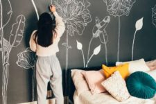 12 make your bedroom super cool rocking a chalkboard accent wall and chalking some blooms and plants on it