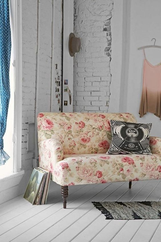 a sweet vintage-inspired rose upholstered loveseat for a romantic girl's space