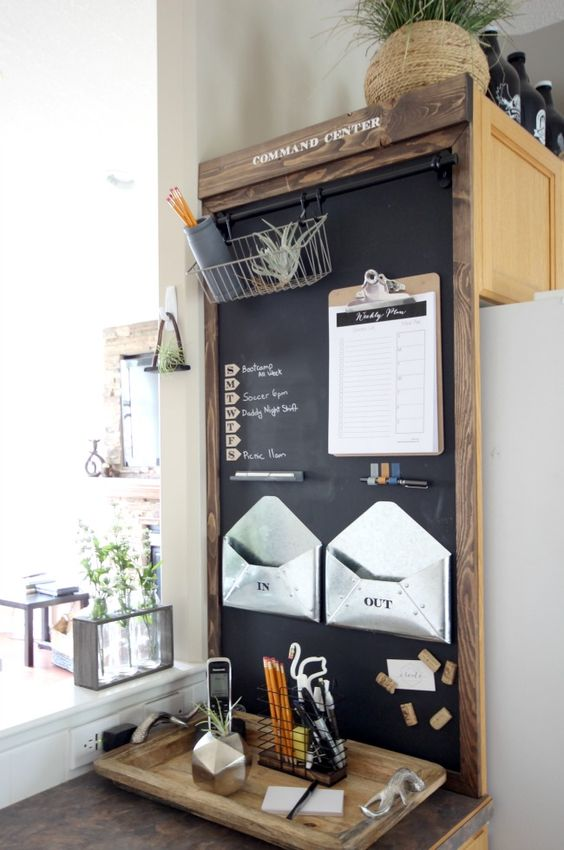 a magnetic chalkboard with a shelf, attached envelopes of plastic, pens and pencils for a home office