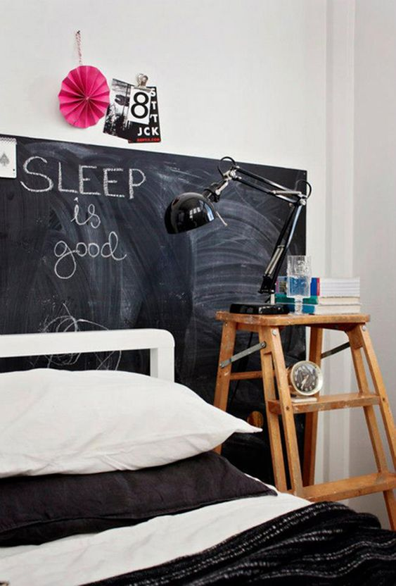 substitute a headboard with a chalkboard sign and create your art and leave wishes on it for a catchy look