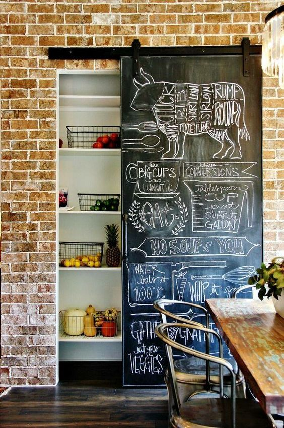 a built-in pantry with a sliding chalkboard door that cna be used for recipes or notes and that adds to the industrial style of the space