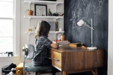 16 a chalkboard accent wall in a kid's bedroom is a great idea – your kid will create art, leave notes and other stuff on it