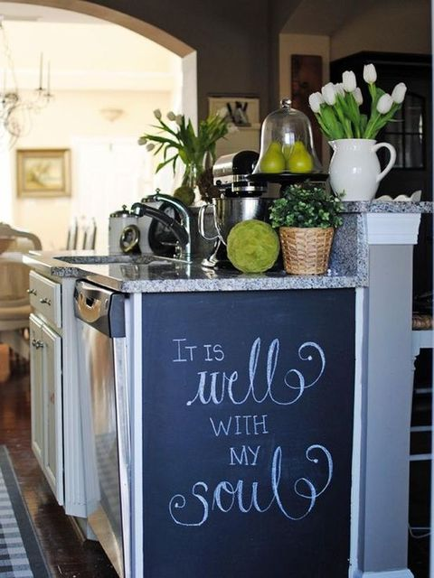 a chalkboard paint coat for an old cabinet or kitchen island will turn it into an art space for your kids