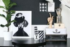 16 a monochromatic home office with a chalkboard wall used as a memo board – for makign notes, for attaching stickers and other stuff
